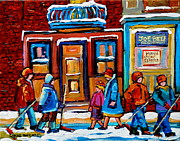 Cafe Bistros Posters - Winter Street In Saint Henri Poster by Carole Spandau