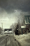 Gloomy Trees Posters - Winter street scene with a car in a small town  Poster by Sandra Cunningham