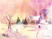 Snow Scenes Painting Prints - Winter Stroll Print by Arline Wagner