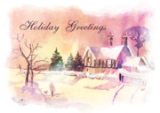 Snow Scene Art - Winter Stroll Card by Arline Wagner