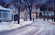 Cape Cod Paintings - Winter Stroll by Karol Wyckoff