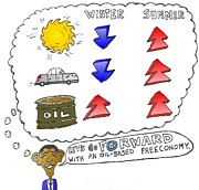 Obama Mixed Media - Winter Summer Oil Prices by OptionsClick BlogArt