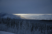 Sun Breaking Through Clouds Art - Winter Sun Alaska by John Wolf