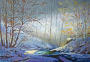 Snow Scene Paintings - Winter Sun by Georgeanne Wayman
