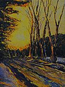 Printed Painting Posters - Winter Sun Rise - Vermont Poster by Chris Riley