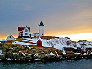 Short Sands Prints - Winter Sunrise at Nubble Light Print by Scott Moore