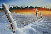 Winter Sunset Paintings - Winter Sunrise by Ferrel Cordle