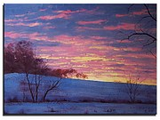 Winter Prints Paintings - Winter Sunrise by Graham Gercken