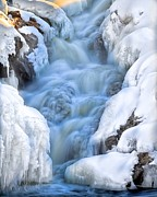 Waterfall Posters - Winter Sunrise Great Falls Poster by Bob Orsillo