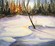 Snowscape Painting Posters - Winter Sunrise Poster by Kristine Plum