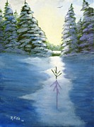 Snow Covered Pine Trees Paintings - Winter Sunrise by Rich Fotia