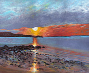 Long Island Paintings - Winter Sunset Centre Island Beach by Susan Herbst