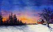 Christina Meeusen Posters - Winter Sunset Poster by Christina Meeusen