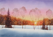 Winter Landscape Painting Originals - Winter Sunset by Deborah Ronglien