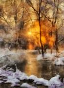 Winter Sunset Print by Elizabeth Coats