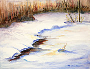 Snow Drifts Paintings - Winter Sunset by Kristine Plum