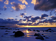 Forbidding Prints - Winter Sunset on Lake Michigan - FM000053 Print by Daniel Dempster