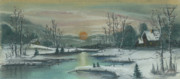 Iowa Pastels Prints - Winter Sunset Print by Shelby Kube