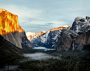 North Dome Posters - Winter Sunset Yosemite Valley Poster by Troy Montemayor