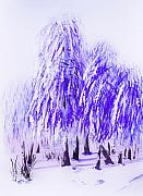 Landscapes Drawings Metal Prints - Winter Metal Print by Svetlana Sewell