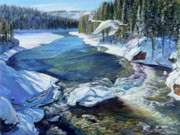 Yellowstone Paintings - Winter Swans by Steve Spencer