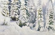 Winter Scenes Rural Scenes Painting Prints - Winter Tale Print by Aleksandr Alekseevich Borisov