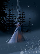 Native Americans Paintings - Winter Teepee by Paul Sachtleben