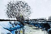 White River Drawings Prints - Winter Time Print by Svetlana Sewell