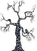 Twisting Mixed Media Prints - Winter Tree Print by Alissa Allery