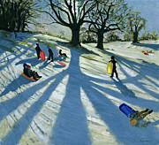 Sledding Framed Prints - Winter Tree Framed Print by Andrew Macara