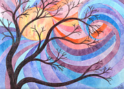 Blues Paintings - Winter Tree Wild Sky by Sue Gardiner