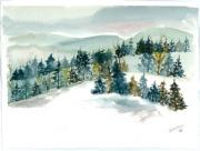 Jan Anderson Watercolors - Winter trees in blues by Jan Anderson