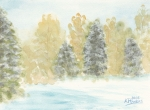 Woods Painting Originals - Winter Trees by Ken Powers