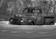 Rusty Pickup Truck Photos - Winter Truck in Black and White by Thomas Young