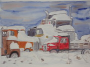 Machinery Painting Originals - Winter Truck Yard by Tim Bhajjan