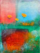 Flowers Mixed Media Originals - Winter Tulips Rain and Snow by Johane Amirault
