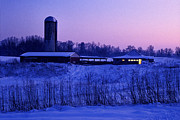 Indiana Farm Framed Prints - Winter Twilight - FS000715 Framed Print by Daniel Dempster