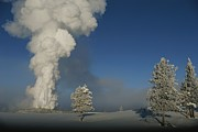 Geysers Photos - Winter View Of Old Faithful Geyser by Norbert Rosing