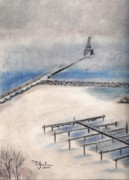 Chicago Pastels Posters - Winter View Poster by Terry Jenkins