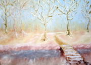 Snowy Trees Paintings - Winter Walk by Ellen Young