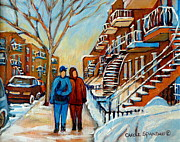 Montreal Urban Landscapes Prints - Winter Walk In Montreal Print by Carole Spandau