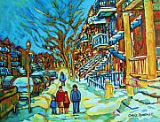 Montreal Restaurants Painting Framed Prints - Winter  Walk In The City Framed Print by Carole Spandau