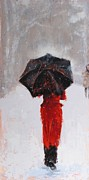 Umbrella Paintings - Winter Walk by Laura Lee Zanghetti