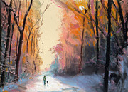 Light Orange Pastels Posters - Winter Walk Poster by Paul Mitchell
