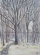 Nature Center Paintings - Winter Walk by Robert P Hedden