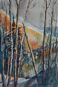 North Cascades Painting Posters - Winter Warmth 02 with Snow Shoers Poster by Sukey Jacobsen