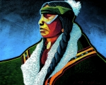 Contemporary Native American Posters - Winter Warrior Poster by Lance Headlee