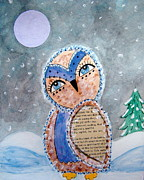 Snowy Night Night Mixed Media Posters - Winter Wings Poster by Angie Reeves