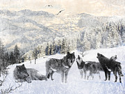 Wolf Digital Art Posters - Winter Wolves Poster by Lourry Legarde
