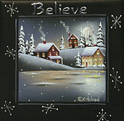 Primitive Painting Framed Prints - Winter Wonderland - Believe Framed Print by Catherine Holman